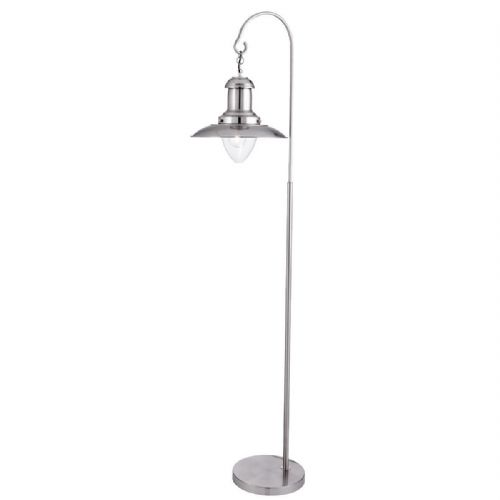 Fisherman Floor Lamp, Satin Silver, Clear Glass Shade 6502Ss (Class 2 Double Insulated)